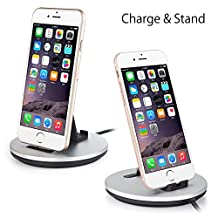 Daite Lighting Port Charge and Sync Docking Station with 2.9ft Built-in Reversible USB Cable for iPhone, iPad, iPod & Anti-slip Phone Stand Holder Cradle (Silver)