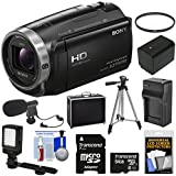 Sony Handycam HDR-CX675 32GB Wi-Fi HD Video Camera Camcorder with 64GB Card + Battery & Charger + Hard Case + Tripod + LED Light + Microphone + Kit