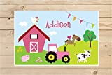 Personalized Farm Animals Placemat,Kids Personalized Placemat - Childrens Placemat - Set The Table - Farm Placemat - Laminated Place Mat
