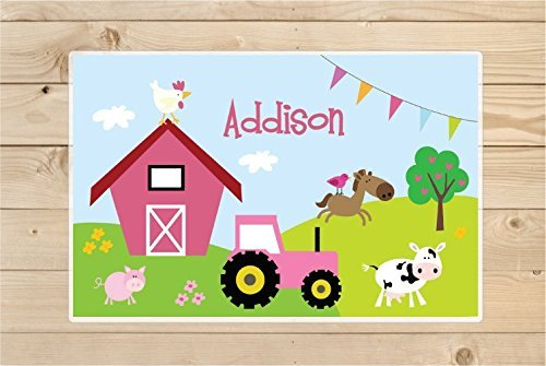 Personalized Farm Animals Placemat,Kids Personalized Placemat - Childrens Placemat - Set The Table - Farm Placemat - Laminated Place Mat by Kid'O Design Studio