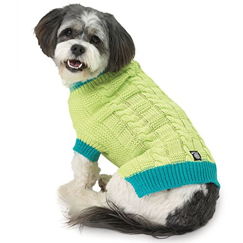 Petrageous Designs Cody'S Chunky Cable Sweater - Lime/Teal - S-Small