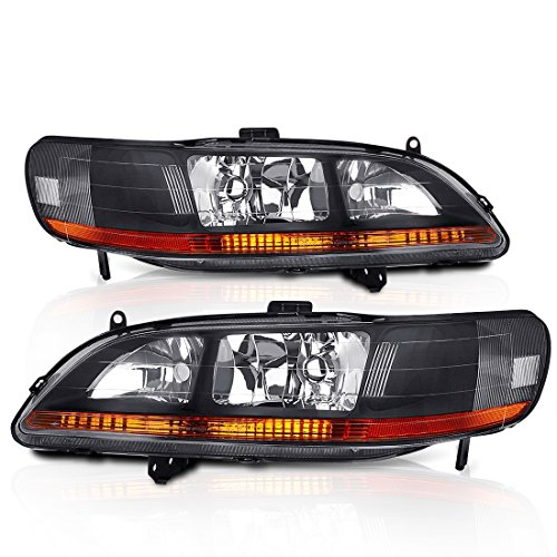 AJP Distributors Honda Accord Sedan Coupe Headlights Lamps (Black Amber) ()