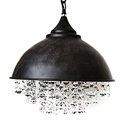 Industrial Retro Crystal Chandelier, Motent Vintage Glittering Crystal Ceiling Light Iron Wrought Pendant Lamp Shade Set for Living Room Hall Corridor - 13 inches Dia