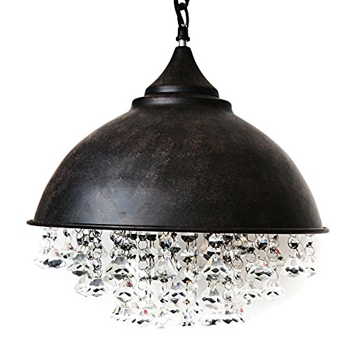 Industrial Retro Crystal Chandelier, Motent 13 inches Dia Vintage Glittering Crystal Ceiling Light Iron Wrought Pendant Lamp Shade Set for Basement Wine Cellar Warehouse - Rustic