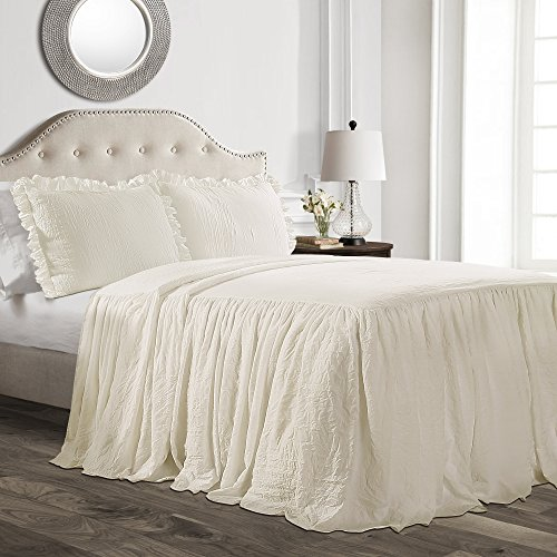 Lush Décor Ruffle Skirt Bedspread Ivory Shabby Chic Farmhouse Style Lightweight 3 Piece Set, ()