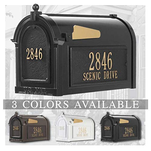Whitehall Doors - Personalized Whitehall Capitol Mailbox with Door & Side Address Plaques Personalized Mailbox (3 Colors Available)