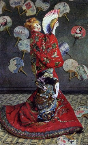 "Claude Oscar Monet Camille Monet in Japanese Costume - 18.05"" x 27.05"" Peel & Stick Removable Wall Decal"