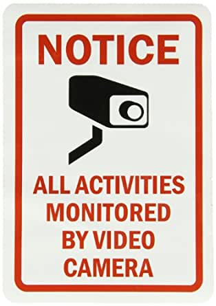 """SmartSign Adhesive Vinyl Label, Legend """"Notice: All Activities Monitored by Video Camera"""" with Graphic, 10"""" high x 7"""" wide, Black/Red on White"""