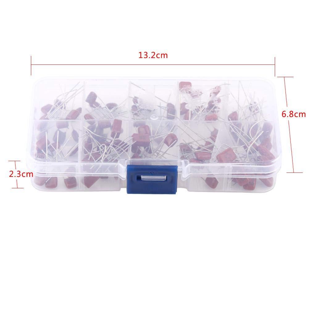 Akozon Condensateur Assortiment 100pcs 10 Ensemble de condensateurs de film en polypropyl/ène CBB 10nF ~ 470nF