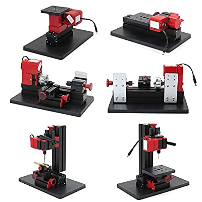 Zinnor Mini Metal Lathe DIY 6 in 1 Multipurpose Machine Metal Lathe Tooling Milling Drilling, Ship from USA 3-6 Days