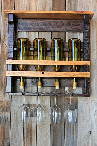 Rundown Rustics Wine Rack Storage Shelf Organizer Display Décor Organizer Cubby Rustic Reclaimed Recycled Upcycled Pallet Barn Wood Bar 4 Bottles Glasses Inverted Wall - Blonde Beer French