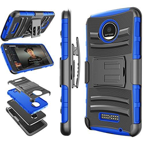 Tekcoo for Moto Z Play Case, for Moto Z Force Holster Belt, [Hoplite] Shock Absorbing [Blue] Locking Clip Defender Full Body Kickstand Carrying Armor Cases Cover for Motorola Moto Z Force/Play Droid