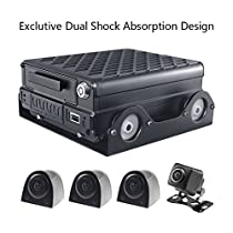 SoloSafety C9 Mobile DVR Kit with Exclusive Dual Shock Absorption Design 4CH AHD 720P 4G 3G GPS WIFI Reverse Image HDD SD Mobile DVR H941 + 4 AHD Waterproof Vehicle Cameras(Edition: 4G+GPS+RJ45)