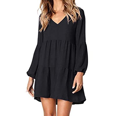 HIRIRI Mini Dress Women V Neck Cross Ruffle Polka Dot Loose Swing Casual Short T-Shirt Dress: Clothing