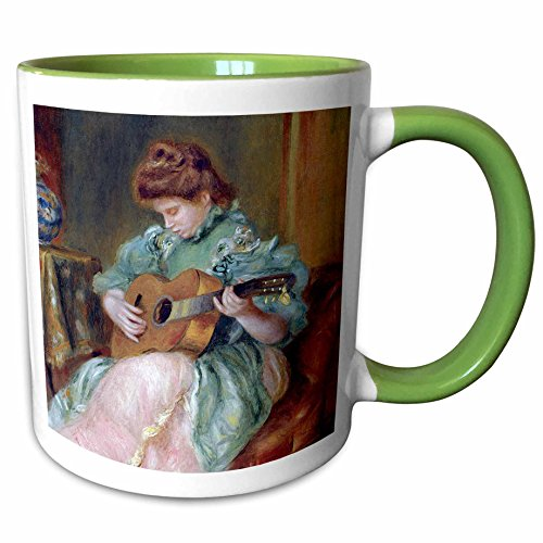 (3dRose BLN Music Featured in Fine Art Collection - Femme a la Guitare 1896 by Pierre Auguste Renoir Woman Playing Guitar - 15oz Two-Tone Green Mug (mug_171351_12))