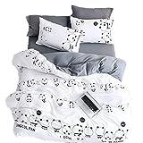 LemonTree Kids Panda Wash Cotton Bedding Set-4Pcs Cartoon Lightweight White and Black Panda Animal Pattern -1 Duvet Cover Set + 1 Bed Sheet + 2 Pillowcases (Full)