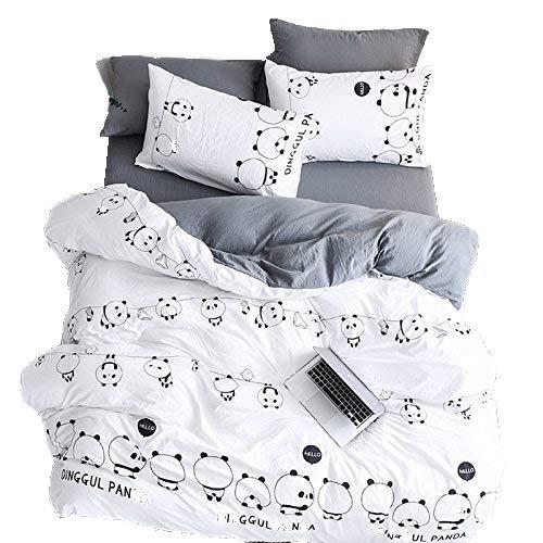 LemonTree Kids Panda WASN Cotton Bedding Set-4Pcs Cartoon Lightweight White and Black Panda Animal Pattern -1 Duvet Cover Set + 1 Bed Sheet + 2 Pillowcases -