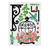 Kofun Wall Sticker Flower Bird Cage Merry Christmas Happy New Year Holiday Decal Bedroom Living Room Home Window Decor Vinly DIY Home Decoration Decor 60x38 cm