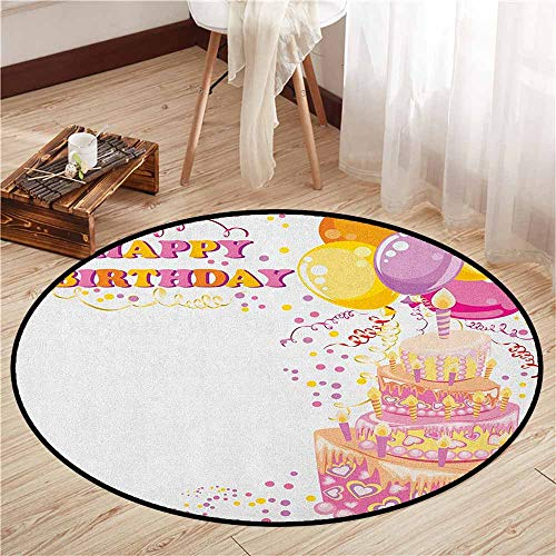 Round Carpet,Kids Birthday,Celebration Girl Themed Party Cake Candles Balloons Hearts Image Print,Ideal Gift for Children,3