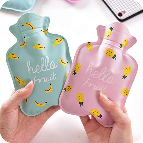 Hacoly Mini Hot Water Bottle Pocket Hot Water Bag Rubber Hottie Water Heating Bag for Pain Relief, Menstrual Cramps, Cold Winter Bed Warming Portable Reusable Therapy Heating Pad-Watermelon by Hacoly (Image #4)