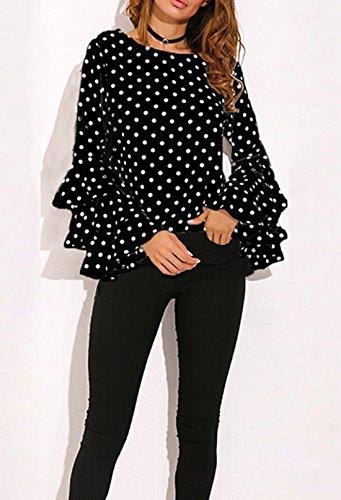 Shirts T et Blouses Tee Pois Printemps Automne Casual Shirt Femmes Mode Chemisiers Haut Slim Col Rond Sleeve Flare Tops Noir FdAUqxz