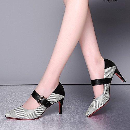 Frauen Kitten Heels Schuhe Mit Hohen Absätzen Schnalle Flach Plaid Schuhe Spitz Stiletto Pumps Für Formale Hochzeit Patry Black