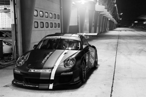 Porsche 911 GT3RS GT3 Cup Front Black and White HD Poster Race Car 18 X 12 Inch Print (Cup Porsche Gt3)