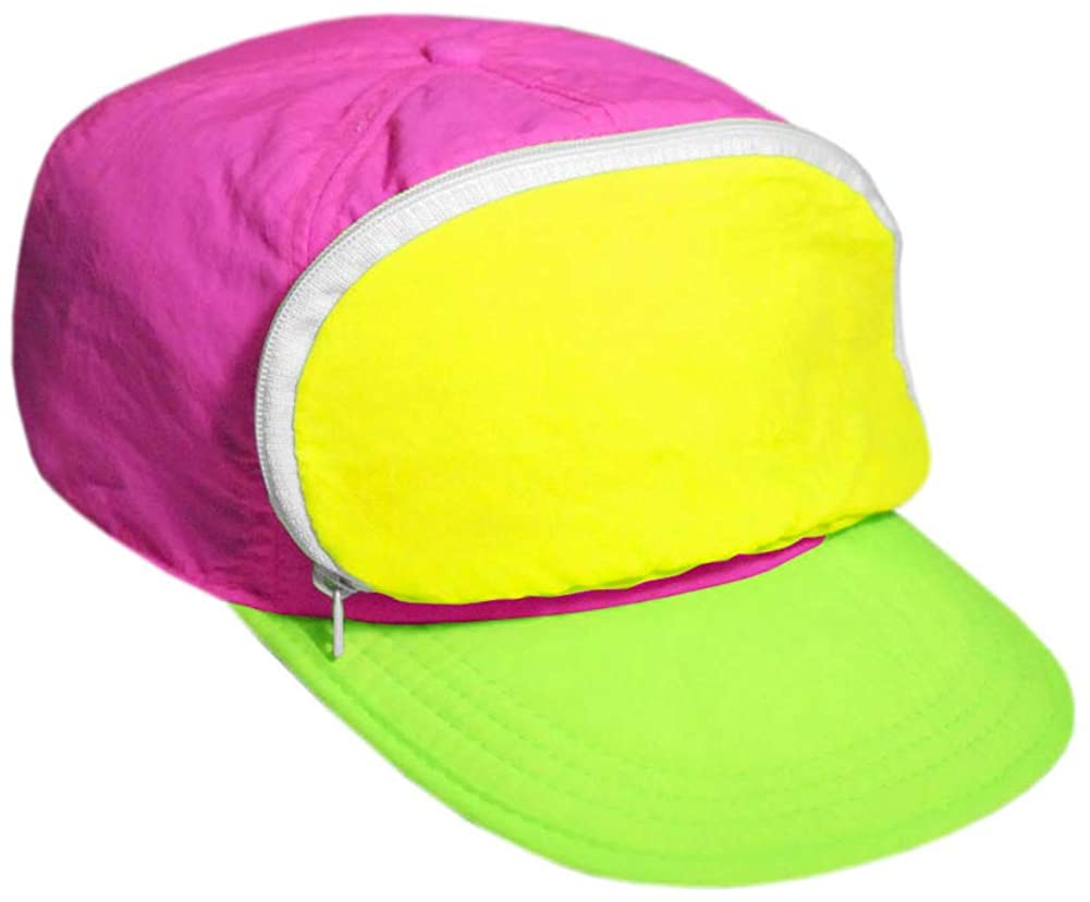 80s Hats, Caps, Visors, Buckets | Women and Men Fanny Pack hat | 80s/90s Nylon Cap for Men & Women | Zipper Pocket & Adjustable $19.99 AT vintagedancer.com