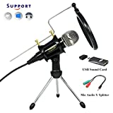 TKGOU Recording Microphone, Computer Microphone Sets With Monitor Funcation/Tripod Stand/Pop Filter, Recording microphone for computer/Phone/latop,Great For Youtube,Facebook,Gaming- MC6B-USB