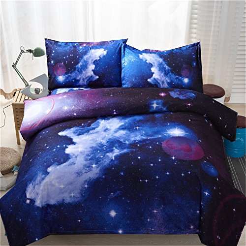 A Nice Night Galaxy Bedding Set Oil Print Duvet Cover Set Kids Bedding for Boys and Girls Teens Bedding Set (Queen, 12)