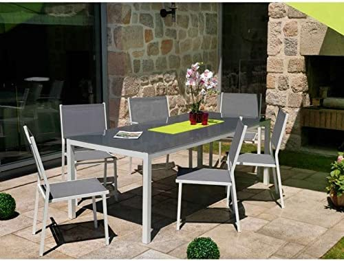 Ozalide Salon de jardin girona table + 6 chaises: Amazon.fr ...