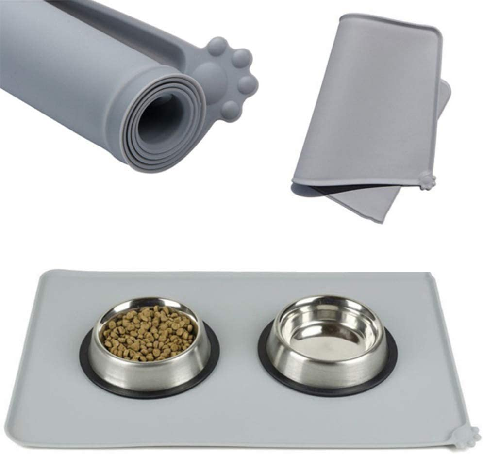 Ogquaton Silicone Pet Feeding Mat Dog Cat Placemat Bowl Mat Tray with Raised Edge Waterproof Non Slip Non Spills Pet Feeder Pad Grey Practical and Popular