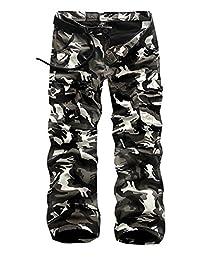 MedzRE Men's Army Style Fleece Lined Camo Work Cargo Cotton Pants