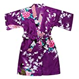 Toddler Girls' Satin Kimono Robe Peacock Blossoms Bathrobes Weeding Gown SFA Wedding Birthday Ages 1-12 (Purple, Size 10: 7-8 Years)