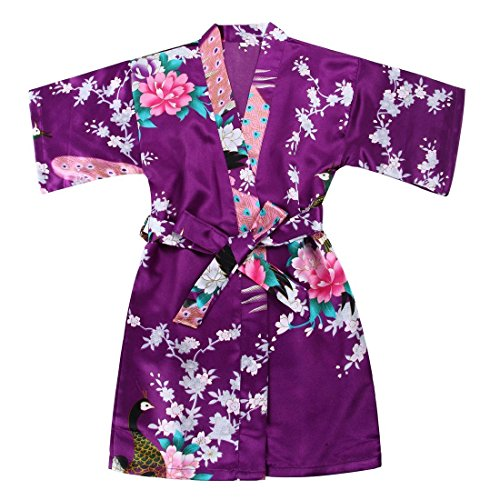 Toddler Girls' Satin Kimono Robe Peacock Blossoms Bathrobes Weeding Gown SFA Wedding Birthday Ages 1-12 (Purple, Size 8: 5-6 Years)]()