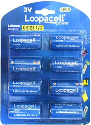 Loopacell 123 CR123A Lithium Batteries for Flashlight and Cameras, 8 Count