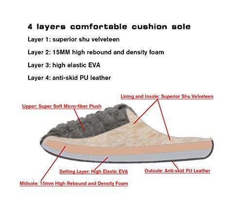 Comfort Velveteen Velvet Men's Lining Sole Cozy Slippers Beige Leather Soft Lightweight SilkGrace Shu Women's IHqREwcfxf