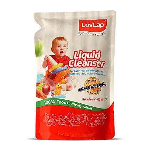 LuvLap Liquid Cleanser Refill, Anti-Bacterial, Food Grade, For Baby Bottles, Accessories and Vegetables, 1000ml