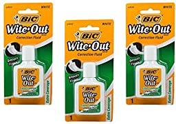 Bic Wite-Out Extra Coverage Correction Fluid-0.7 Ounces 3-PACKS (WOFECP1)