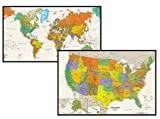 Contemporary US and World Tyvek Combination Map Set