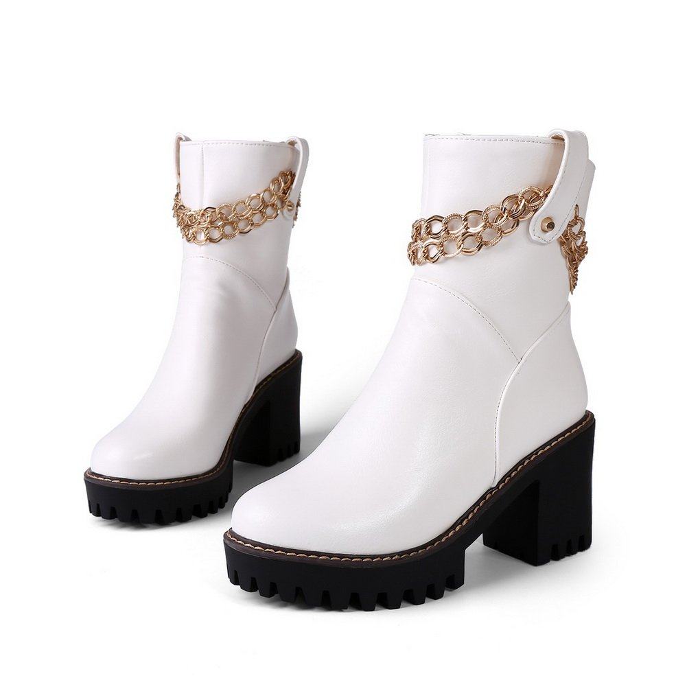 Platform Ladies Metal Ornament Ornamented Round Toe Imitated Leather Boots