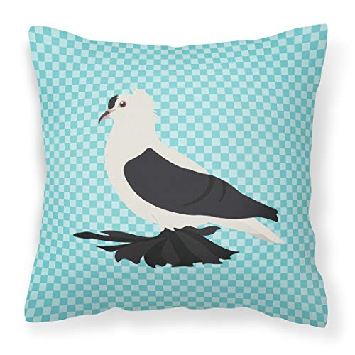 Pigeon Pillow - Caroline's Treasures BB8120PW1818 Saxon Fairy Swallow Pigeon Blue Check Outdoor Canvas Fabric Decorative Pillow, Multicolor