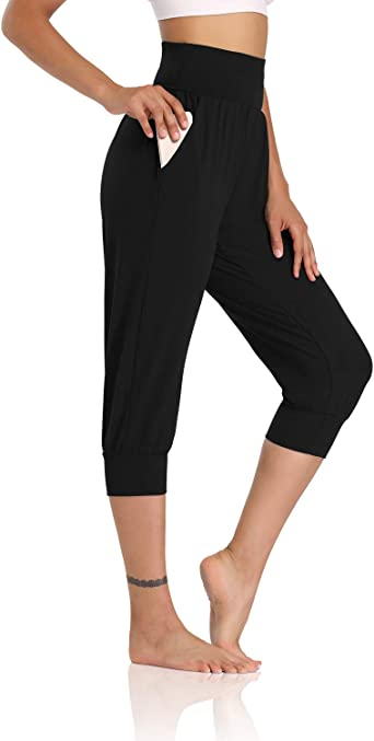 Amazon Com Dibaolong Womens Yoga Joggers Capri Loose Workout Sweatpants Comfy Lounge Pants With Pockets Clothing