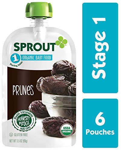 Sprout Organic Baby Food Pouches Stage 1 Sprout Baby Food, Prunes, 3.5 Ounce (Pack of 6); USDA Organic, Non-GMO, Made with Whole Fruit, No Sugar Added, No Preservatives, Nothing Artificial