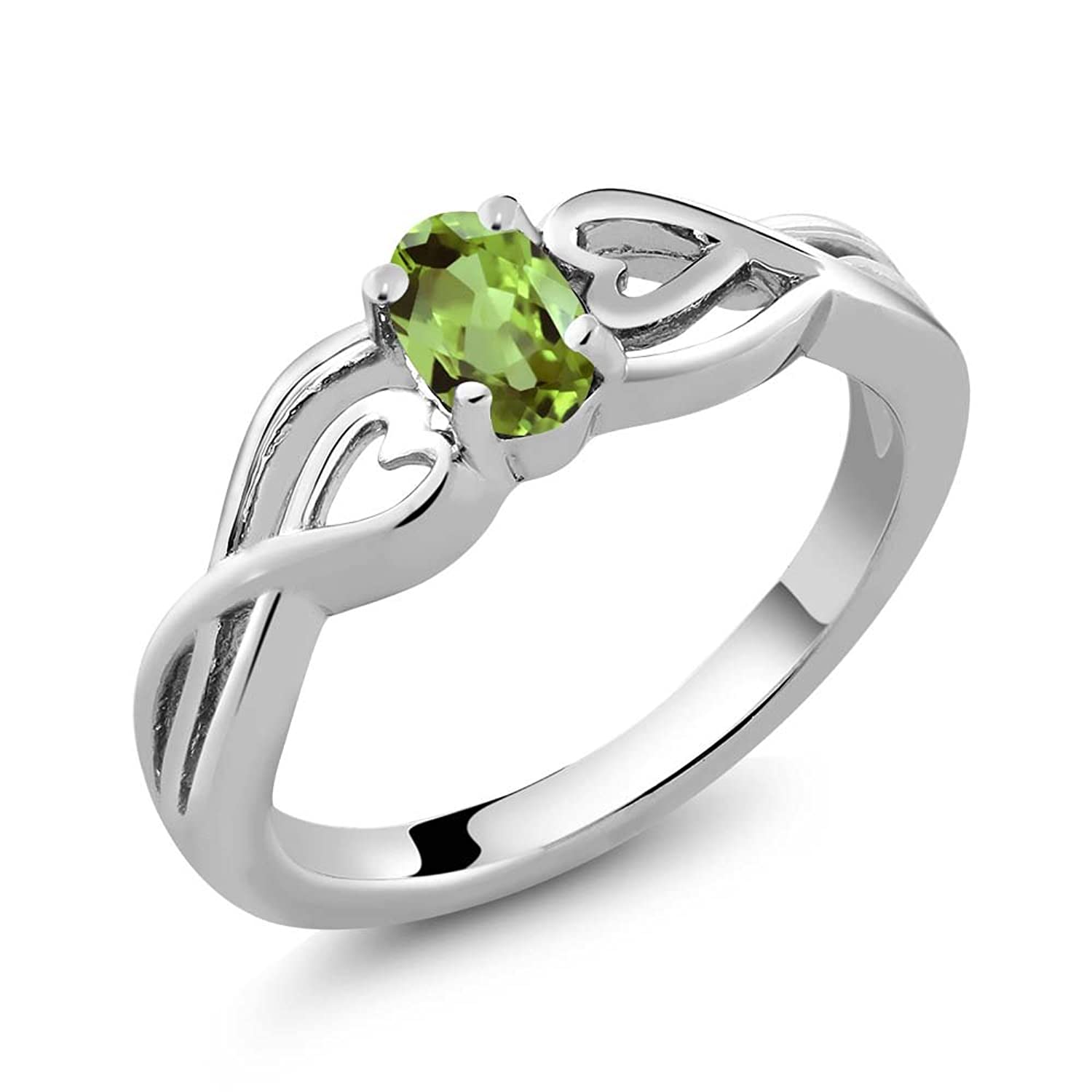 0.50 Ct 6X4MM Oval Shape Green Peridot 925 Sterling Silver Women's Ring (Available in size 5, 6, 7, 8, 9)