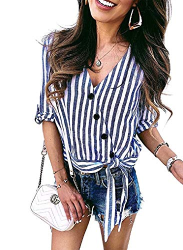 Ivay Women's Summer Striped Roll Tab Sleeve Wrap Shirts Button Tie Front Tops ()