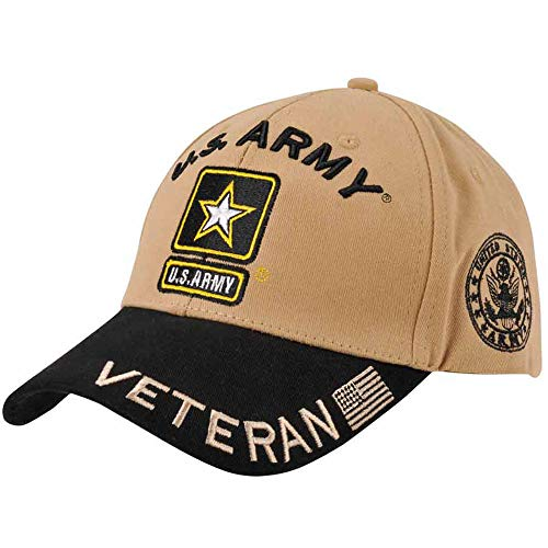 Medals of America US Army Star Logo Hat Black and Tan Official Licensed L/XL