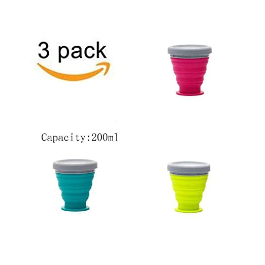Paquete De 3 Vasos De Silicona Plegable Con Tapa 200ML Para ...