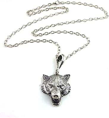 collier argent loup