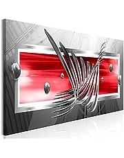 murando Tableau Acoustique Abstrait 135x45 cm Impression sur Toile Toile intisse 1 Piece Tableaux murals Absorption Acoustique Tableau Decoration Murale Gris Rouge a-A-0344-b-c